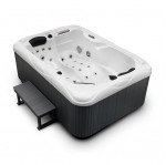 twin spa hot tub white shell grey cabinet and step