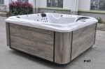 aurora 7 person hot tub white shell wood effect cabinet side view