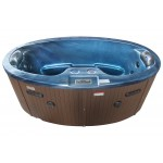 2 person hot tub with blue shell and brown cabinet