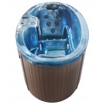 hot tub with blue shell and brown cabinet - front