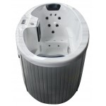 2 person hot tub with white shell and grey cabinet - front