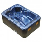 twin spa plug and play hot tub blue shell brown cabinet side view