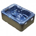twin spa plug and play hot tub blue shell brown cabinet left side view