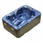 twin spa plug and play hot tub blue shell brown cabinet right side view