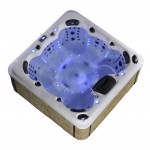 aurora 7 person hot tub with blue lights