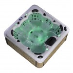 aurora 7 person hot tub with green lights