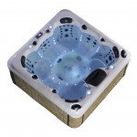 aurora 7 person hot tub with light blue lights