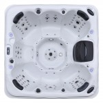 aurora 7 person hot tub white shell top view