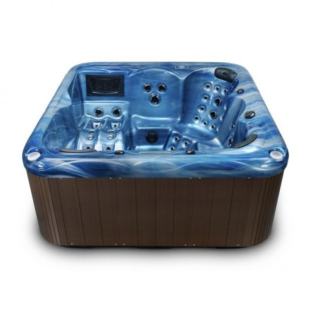 destiny 6 person hot tub side view blue shell
